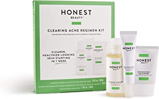Honest Beauty Clearing Acne Regimen Kit | 3-Step Skin Regimen to Cleanse, Treat, Soothe | Synthetic Fragrance Free, Cruelty Free |