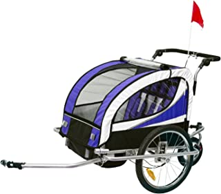 comprar comparacion HOMCOM Remolque para Bicicleta tipo Carro con Barra de Paseo para Niños de 2 Plazas con Rueda Delantera Giratoria 360° y A...