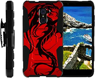 TurtleArmor | Compatible with ZTE Imperial Max Case | Max Duo Case | Kirk [Octo Guard] Dual Layer Case Holster Belt Clip Kickstand Cover - Red Dragon