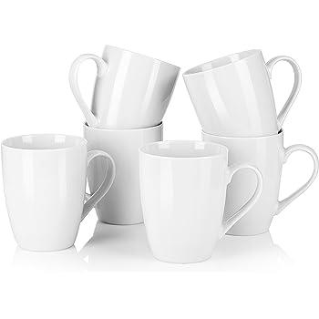 MALACASA, Serie Elisa, Juego de Tazas de 6 Piezas Vajillas de Porcelain Tazas de Cafe Mug Tazas Desayuno 360ML: Amazon.es: Hogar