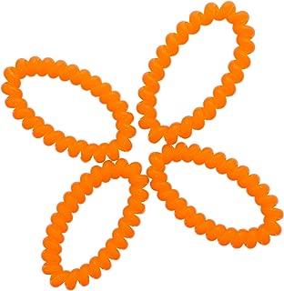 Neon Orange Coil Pony Holders for Women's Hair - Set of 4