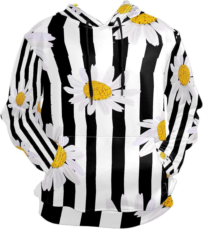 Men's Sport Hoodie Daisy White Chrysanthemum Black Striped Big and Tall Hoodies for Men Women Oversized Hooded Sweatshirt Hip Hop Pullover Hoodie Midweight Hood for Boys Girls
