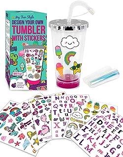 Purple Ladybug CREA tu Propio Vaso Personalizado con Pegatinas Impermeables - Vaso para Niñas con Tapa y Pajita - Un Gran Regalo para Niña - Kit de Manualidades para Niños - Divertido DIY