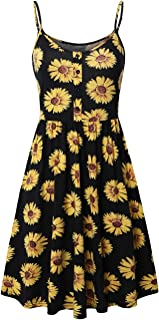 SUNGLORY Women's Adjustable Strappy Dress Skater Pleat Dress with Button Placket