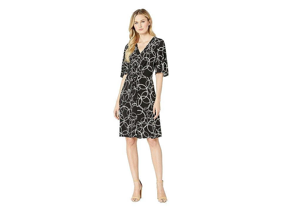 c0a5af3f18f6d London Times Fit Flare Dress Tie Waist (Black Soft White) Women