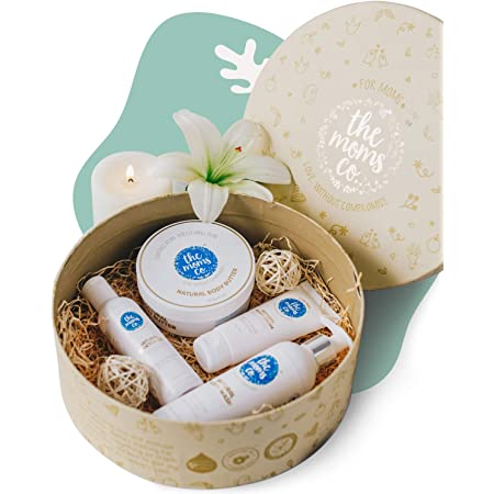 The Moms Co. All-Natural Complete Care Pregnancy Gift Box, 4-Piece Pregnancy Gift Set, Including Australian Certified Toxin-Free Body Butter & Belly Stretch Oil