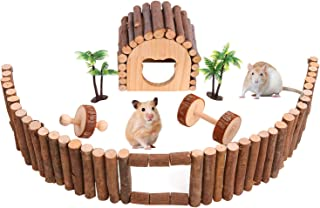 SAWMONG Flexible Wood Hideout House, Chew Toys Wooden Fence Exercise Toy for Hamster, Mouse, Gerbil, Small Animals Habitat...