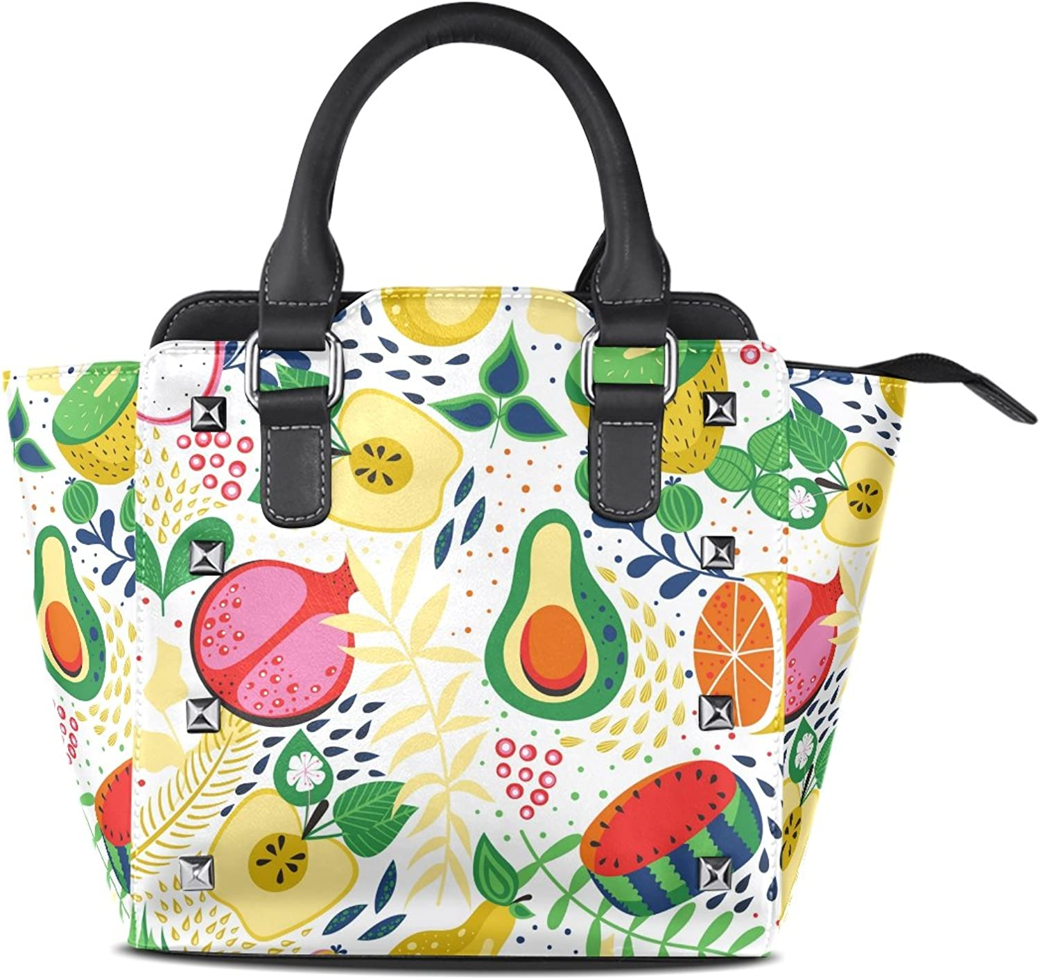 My Little Nest Women's Top Handle Satchel Handbag Tropical Fruits Ladies PU Leather Shoulder Bag Crossbody Bag