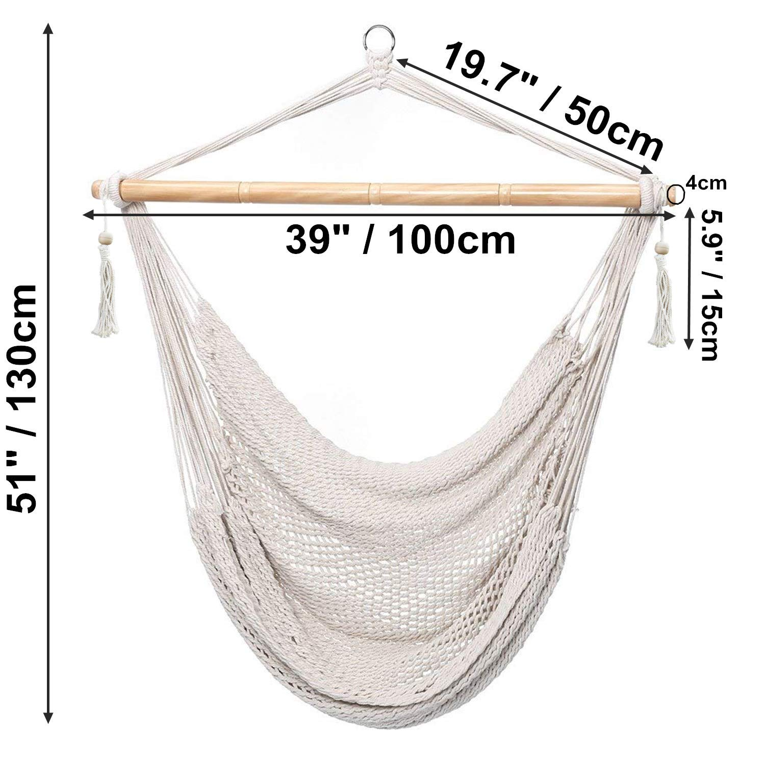Amazon Com Cctro Mesh Hammock Net Chair Swing Hanging Rope Netted Soft Cotton Mayan Hammock Chair Swing Seat Porch Chair For Yard Bedroom Patio Porch Indoor Outdoor 300 Lbs Weight Capacity