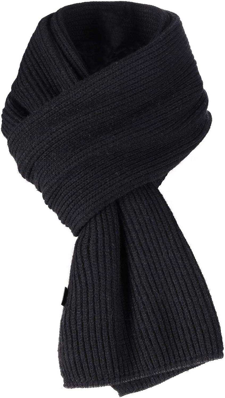 AIMTOP Bufanda Hombre, Bufanda de Punto Invierno Unisex Pañuelo negro Bufanda de Punto Cálido de Invierno