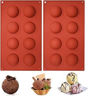 8 Holes Hemispherical Chocolate Mold, Ananko Silicone Chocolate Mold, Multifunctional Baking Molds for Chocolate, Cakes, I...