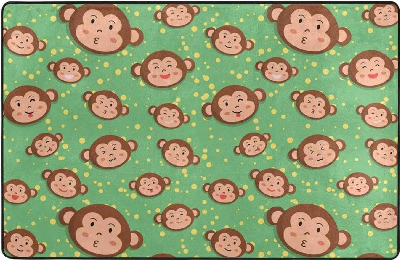 lowest price Cartoon Monkey Head Area Rug of 70% OFF Outlet Indoor Outdoor Boys for Gir Kids