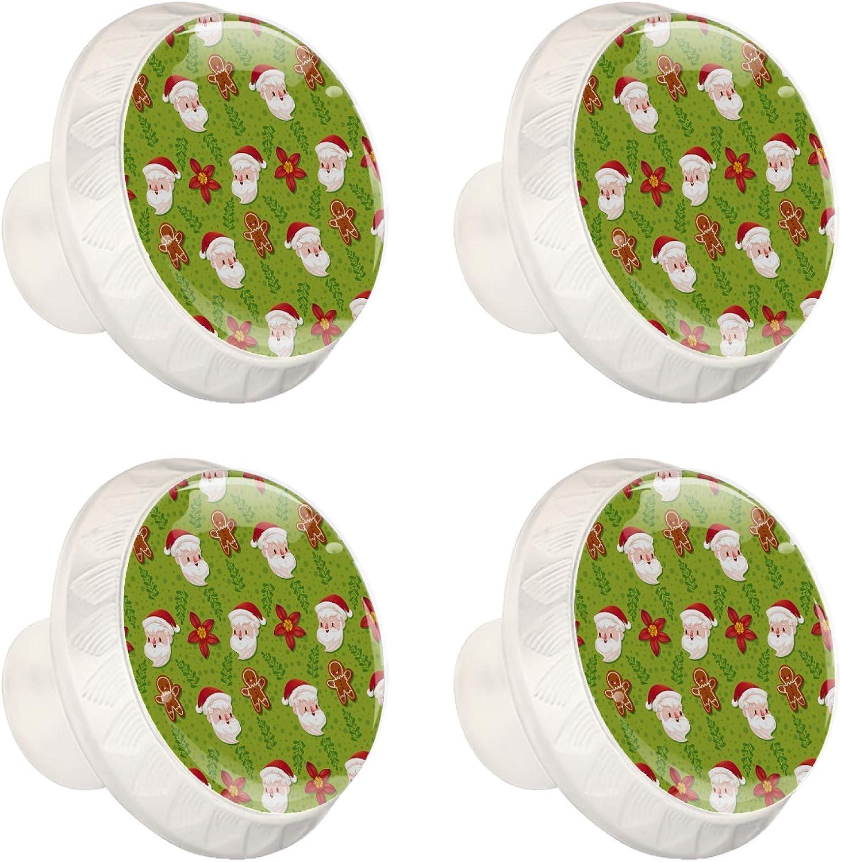Perillas del gabinete Perillas redondas del caj/ón Tirador del caj/ón Tirador de la puerta Tiradores con tornillos para armario Muebles 4 piezas Hombre de pan de jengibre de Santa 3.5/×2.8CM