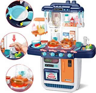 CUTE STONE Kitchen Playset, Kids Play Kitchen with Realistic Lights & Sounds,Simulation of Spray, Play Sink with Running Water,Dessert Shelf Toy & Other Kithen Accessories Set for Girls Boys Toddlers