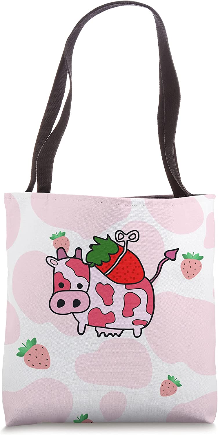 Bombing new work Kawaii Strawberry Cow 100% quality warranty! Pink Tote Aesthetic Bag Pattern