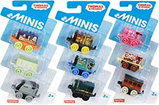 Thomas & Friends Island of Sodor Train Themes! 3-Packs Minis Night Time Dash / Peacock Millie & Paxton Bundled with Blob Percy /Annie /Giraffe Ben + Bert, Troublesome Truck & Spencer Space 3 Items