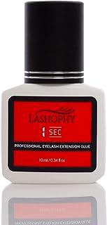 Lashophy 1 SEC Professional Eyelash Extension Glue in Carbon Black (10 ml), Extra-Strong Bonding and 7-Week Retention of Semi-Permanent Eyelashes