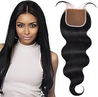 YAMEL Brazilian Lace Closure 4x4 Unprocessed Virgin Human Hair-pieces Natural Black Body Wave 8 Inch
