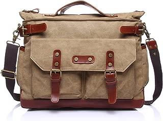 SGJFZD Canvas Leisure Travel Computer Bag Men's Messenger Bag Shoulder Portable Multifunction Bag Briefcase (Color : Beige, Size : M)