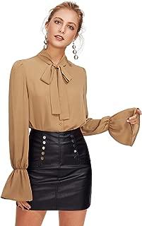 Women's Bow Tie Long Sleeve Chiffon Blouse Tops