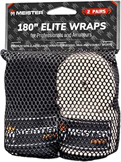 """Meister Elite 180"""" Premium Adult Hand Wraps for MMA & Boxing - 2 Pair Pack w/Mesh Bag"""