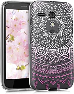 kwmobile TPU Silicone Case for Motorola Moto G (1. Gen) - Crystal Clear Smartphone Back Case Protective Cover - Light Pink/White/Transparent