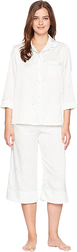 Gold Dot Satin Cropped Pajama Set