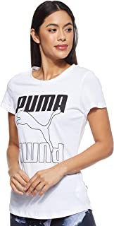 Puma Women's Rebel Graphic T-shirt, Black (White/Black), X-Large