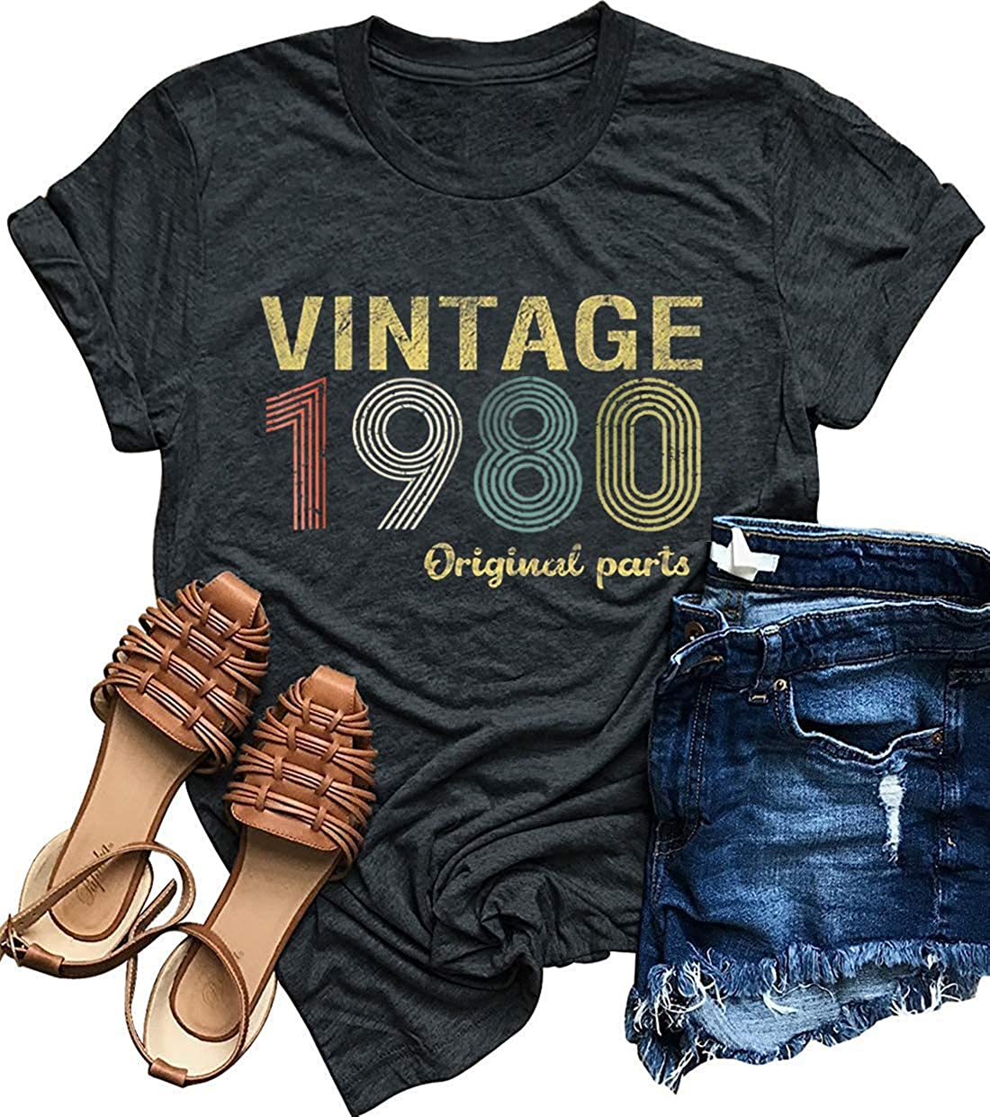 40th Birthday 1980 Vintage T-Shirt Short Sleeve Personalized Gift for Women and Men 80s Tee Shirt