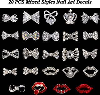 Lookathot 20PCS Mixed Styles 3D Nail Art Decals Metallic Gold Silver Studs Rhinestones Diamonds Pearls Drills Alloy Bow Red Lips Manicure DIY Decoration Tools
