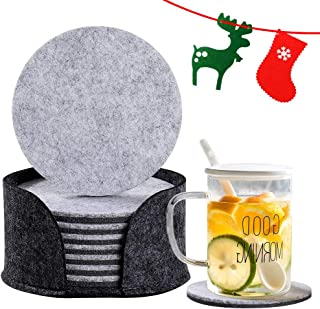 """Ezier Drink Coasters, 8 Pack Felt Absorbent Cup Coasters for Drinks, Christmas Gifts Decorative Dual Sided 3.94"""" Round Table Cup Mat with Holder to Protect Your Furniture (8 pack-felt-charcoal)"""