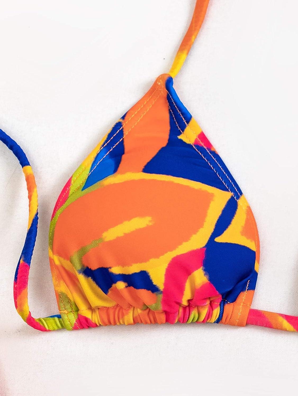 Floerns Women's Graphic Halter Tie Side Triangle Bikini Two Piece Swimsuit