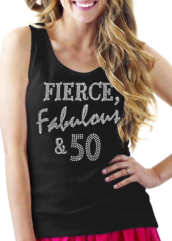50th Birthday Now free shipping Shirts for Women - 50 Fierce Oklahoma City Mall Rhinestone Fabulous