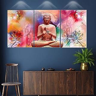 SND UV Textured Lord Buddha Print MDF Frame Wall Art Scenery Painting Set of 3 (27 X 12 inch, Wall SNBVS01)