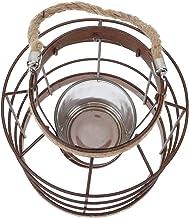 OSALADI Suporte de vela geométrico para luz de chá com arame de metal, suporte de vela vintage para pilar, lanterna decora...