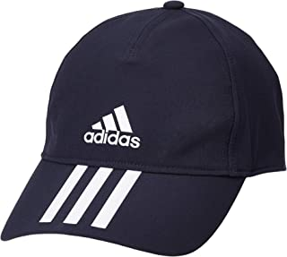 قبعة بيسبول ايرو جاهزة ومزينة بـ 3 خطوط للرجال 4 Athlts من اديداس، ازرق (كحلي/ ابيض)، OSFM