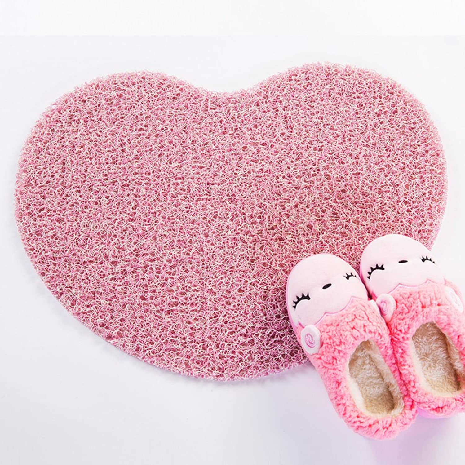 Heart-shaped door mat Doormat Door The door Lobby floor mats Plastic pvc antiskid mat Bathroom mat Hollow floor mats-F 60x70cm(24x28inch)