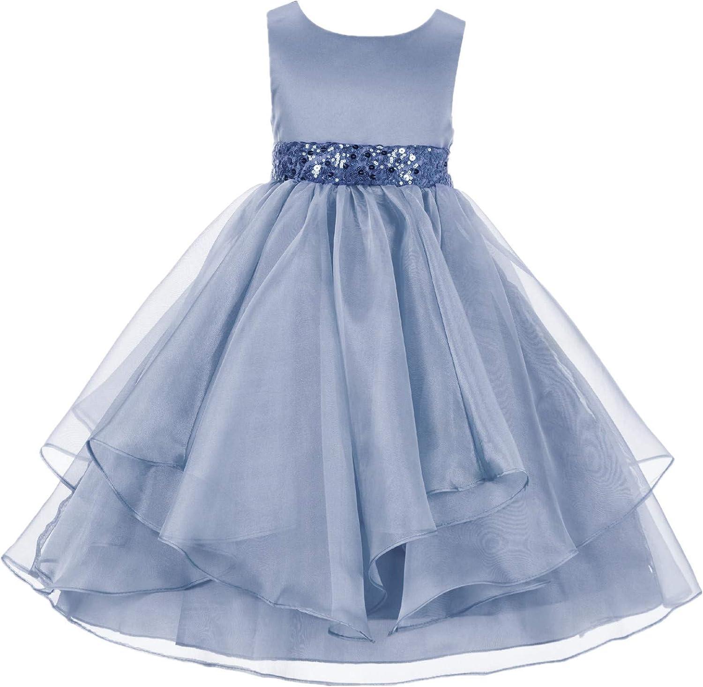 ekidsbridal Asymmetric Ruffled Organza Sequin Toddler Flower Girl Dress Pageant Gown 012S 8 Dusty Blue
