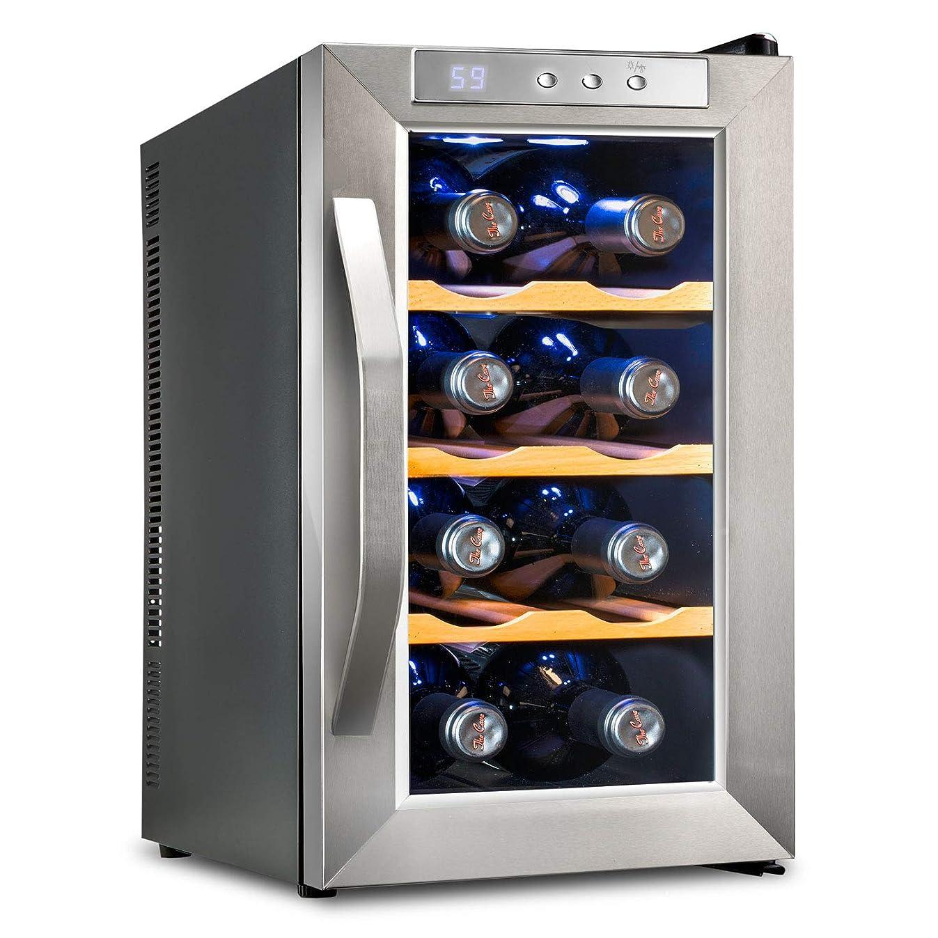 Ivation Premium Stainless Steel 8 Bottle Thermoelectric Wine Cooler/Chiller Counter Top Red & White Wine Cellar w/Digital Temperature, Freestanding Refrigerator Glass Door Quiet Operation Fridge