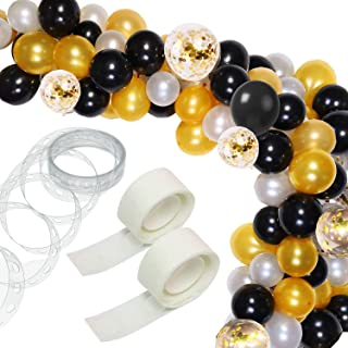 123 Pcs Balloon Garland Kit- 16Ft Long Balloon Arch Garland for Girl Wedding Birthday Baby Shower Party Decorations (White Gold Black)