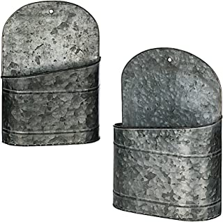 Metal Wall Hanging Galvanized Container Mail Plants Tools Kitchen Pantry Garden Decor Distressed Indoor or Outdoor (Set of 2)