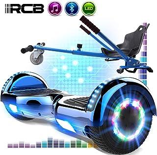 RCB Hoverboard Overboard y Hoverkart Patinete Eléctrico 6.5 Pulgadas Scooter Eléctrico Auto- equilibrado con Bluetooth Self-Balancing Scooter con Luces LED Asiento Sólido Juguete para Niños