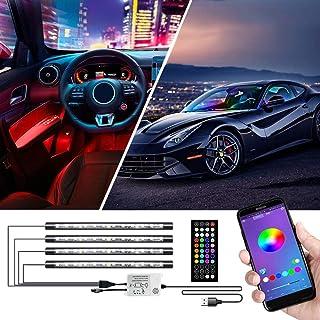 Innenbeleuchtung, Cartaoo Auto LED Lichtleiste 4Stk. 48 LED Auto Umgebungslicht mit APP Fernbedienung, Synchronisierung mit Musik, Strobe Modell, Under Dash Beleuchtung mit USB Anschluss DC 12V
