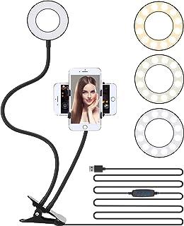 "3.5"" LED Selfie Ring Light Cell Phone Tripod Stand Flexible Arm Mount Stick Holder Clip for Desk,3 Light Mode Circle Filli..."
