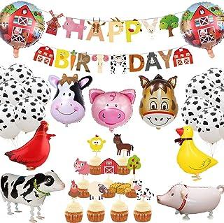 JeVenis 29 PCS Farm Animals Birthday Decoration Farm Animals Birthday Banner Farm Animals Party Supplies Cow Balloons for ...