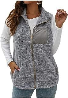 Howely Women Turtleneck Pockets Fluffy Zipper Warm Vest Coats Jacket