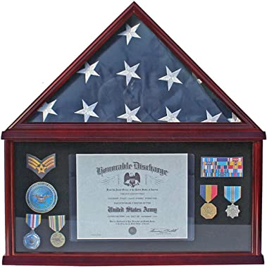 Large Military Medal Shadow Box Frame American Funeral Flag Display Case Holder for a 5' X 9.5' Funeral/Memorial Flag