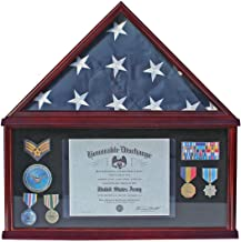 Large Military Shadow Box Frame Memorial Burial Funeral Flag Display Case for 5' X 9.5' Flag Folded, Solid Wood (Black Felt)