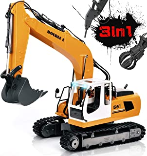 DOUBLE E 17 Channel Remote Control Truck RC Excavator Toy 3 in1 Claw Drill Metal Shovel 1:16 Scale RC Construction Vehicle Working Lights and Sounds