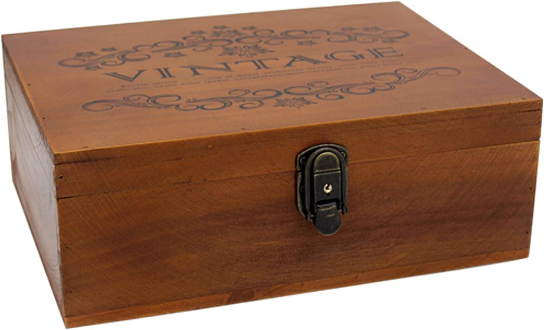 VKSG Vintage Wooden Storage Box Wood Lid Regular dealer with Max 78% OFF Hinged Decorative